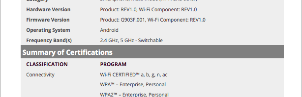 SM-G903F gets Wi-Fi certification, could be the Galaxy S5 Neo