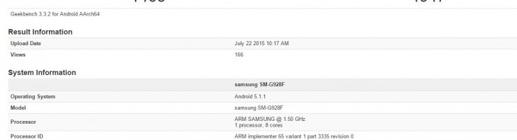 Samsung Galaxy S6 edge+ with 4GB of RAM on Geekbench