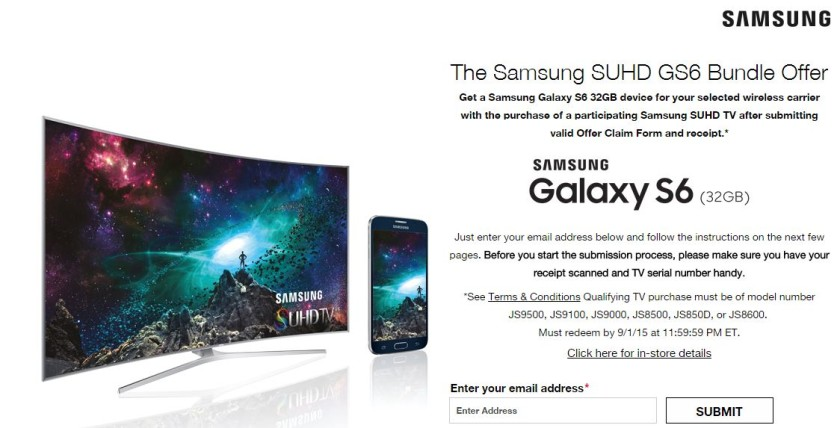 Samsung offering a free galaxy s6 with select 4k tvs in the us