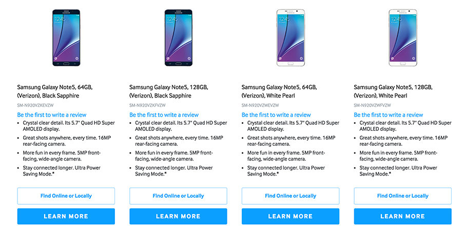 128gb galaxy note 5 listed on samsung's website