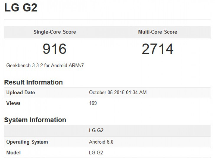 Lg g2 gets benchmarked with android 6.0 marshmallow on board