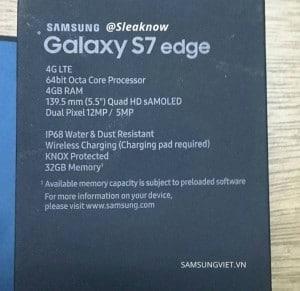 Samsung galaxy s7 edge retail box has most specs written on it