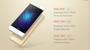 Xiaomi Mi 5 prices