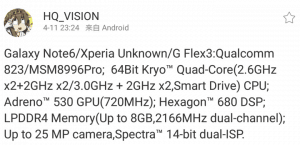 Galaxy note 6 will be powered by sd823 soc