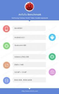 Samsung galaxy note 7 specs leaked