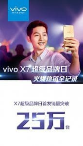 Vivo x7 sold over 250,000 units per day
