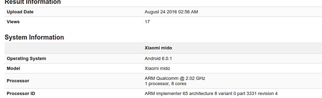 Xiaomi Redmi 4 spotted in Geekbench