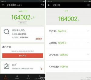 Xiaomi mi 5s spotted on antutu with a score of 164k