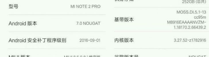 Xiaomi Mi Note 2 screenshot shows 8GB RAM, 256GB storage