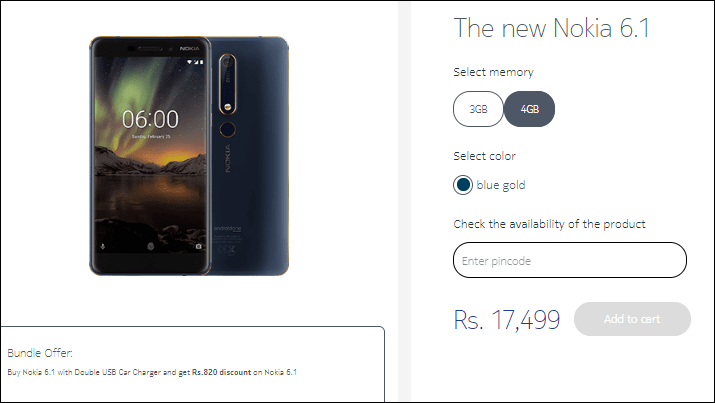 Nokia 6.1 will become value cut in india one week before the nokia 6.1 plus drops