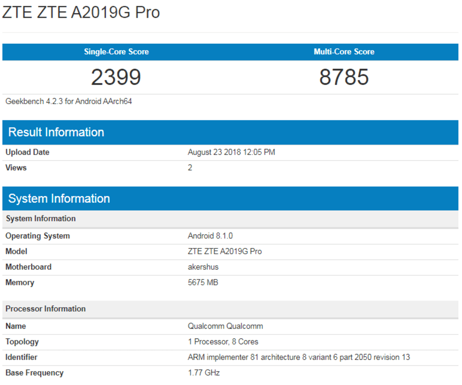 Zte axon 9 pro will become benchmarked, sd845 confirmed