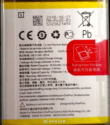 Oneplus 6t to arrive with a 3700mah battery!