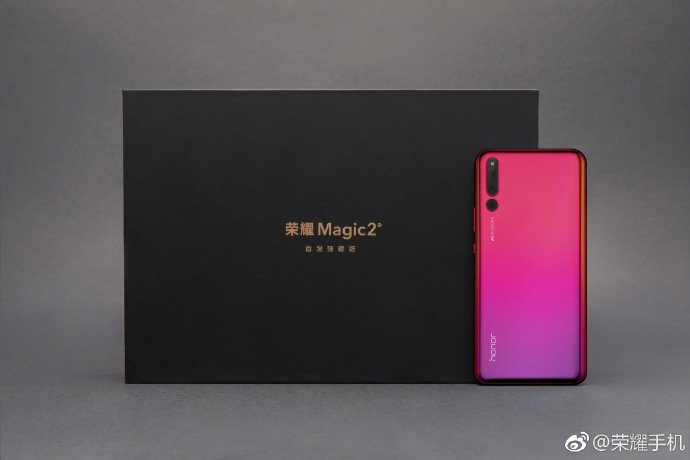 Honor magic 2 official images introduced to showcase red and blue color gradient variants