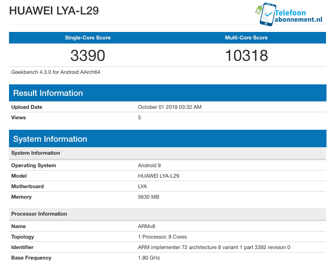 Huawei mate 20 with kirin 980 makes an appearance on geekbench