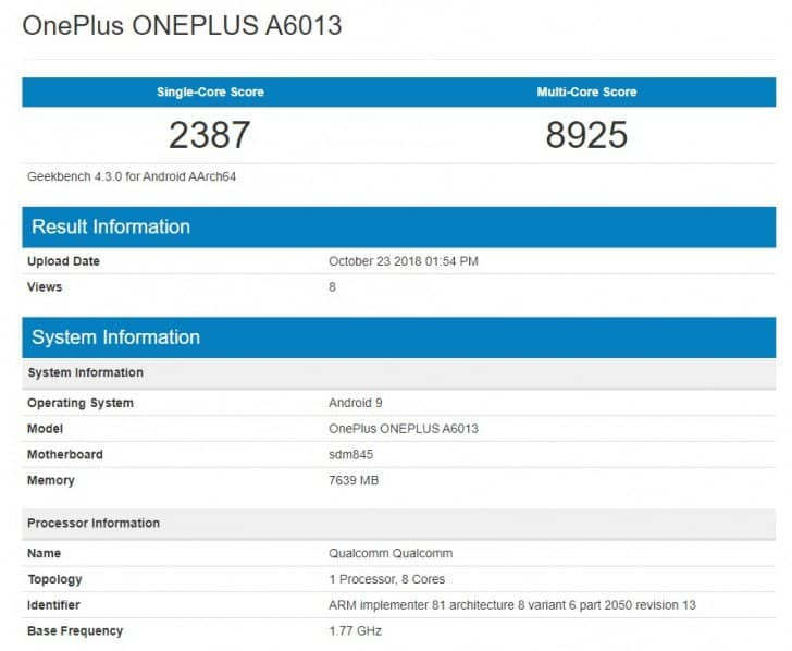 Oneplus 6t makes appearance on geekbench affirming android 9.0 pie out of the box