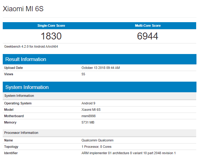 Xiaomi mi 6s geekbench listing reveals android 9 pie, sd835 and 6 gb ram