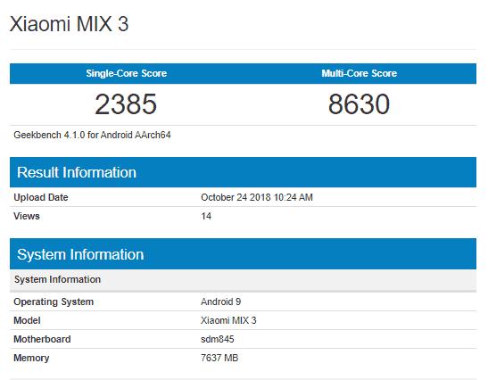 Xiaomi mi mix 3 geekbench listing leaks key technical specs