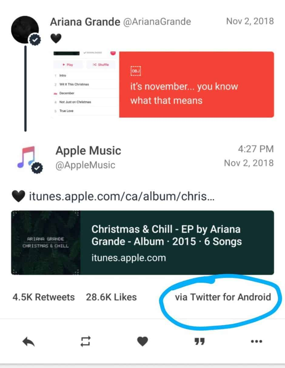 Apple music star is using an android phone to promote apple music on twitter?