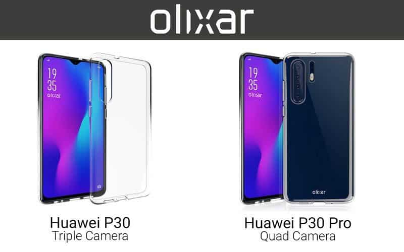 Huawei p30 and p30 pro case images hint triple and quad cameras