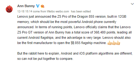 Lenovo z5 pro beats iphones xs, xs max in benches, but antutu says results are not comparable