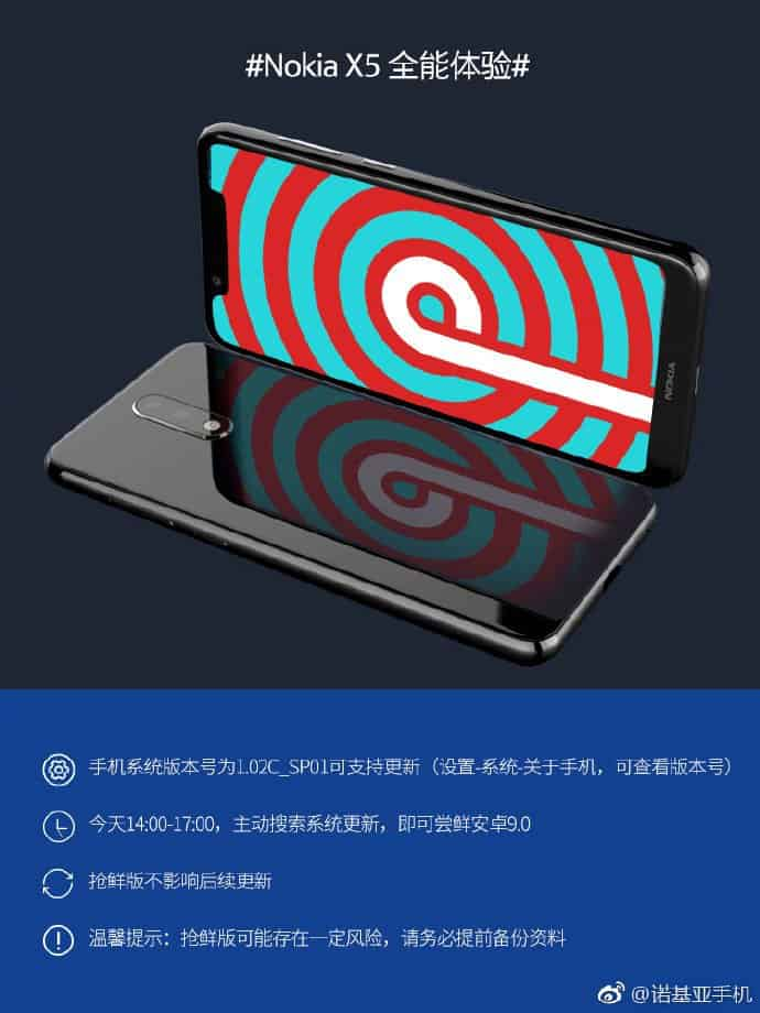 Nokia x5 getting android pie improve in china