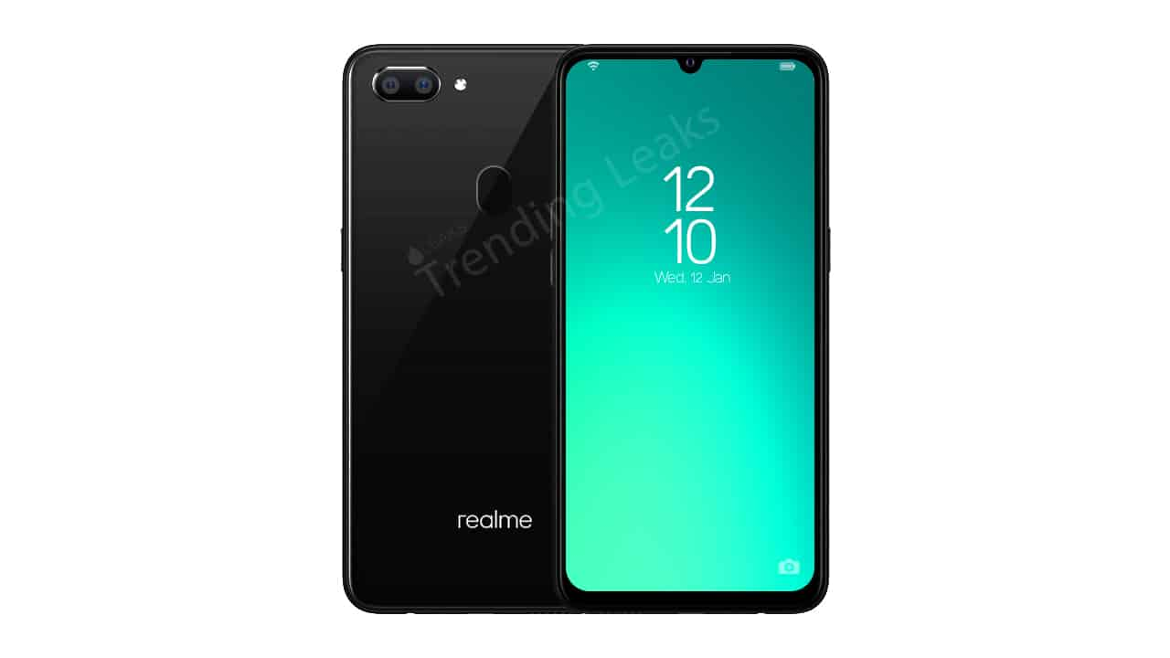 Realme a1 leaks in specifications and renders, water drop notch, mediatek helio p70 established