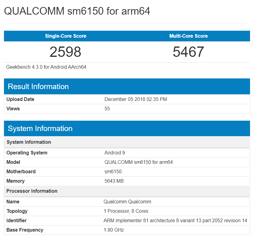 Snapdragon sm6150 test device seems to be on geekbench