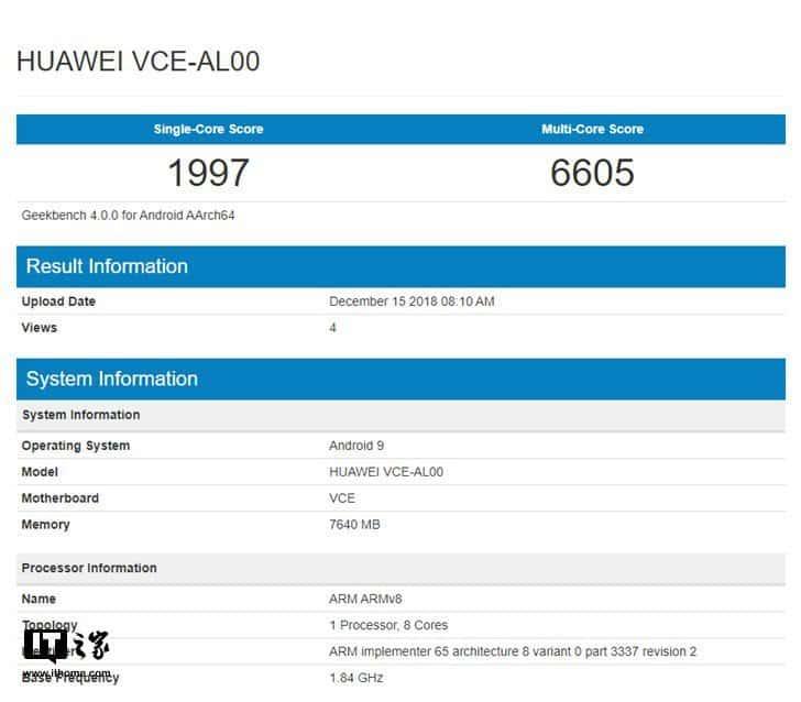 Huawei nova 4 looks on geekbench and antutu benchmark with kirin 970 + 8gb ram