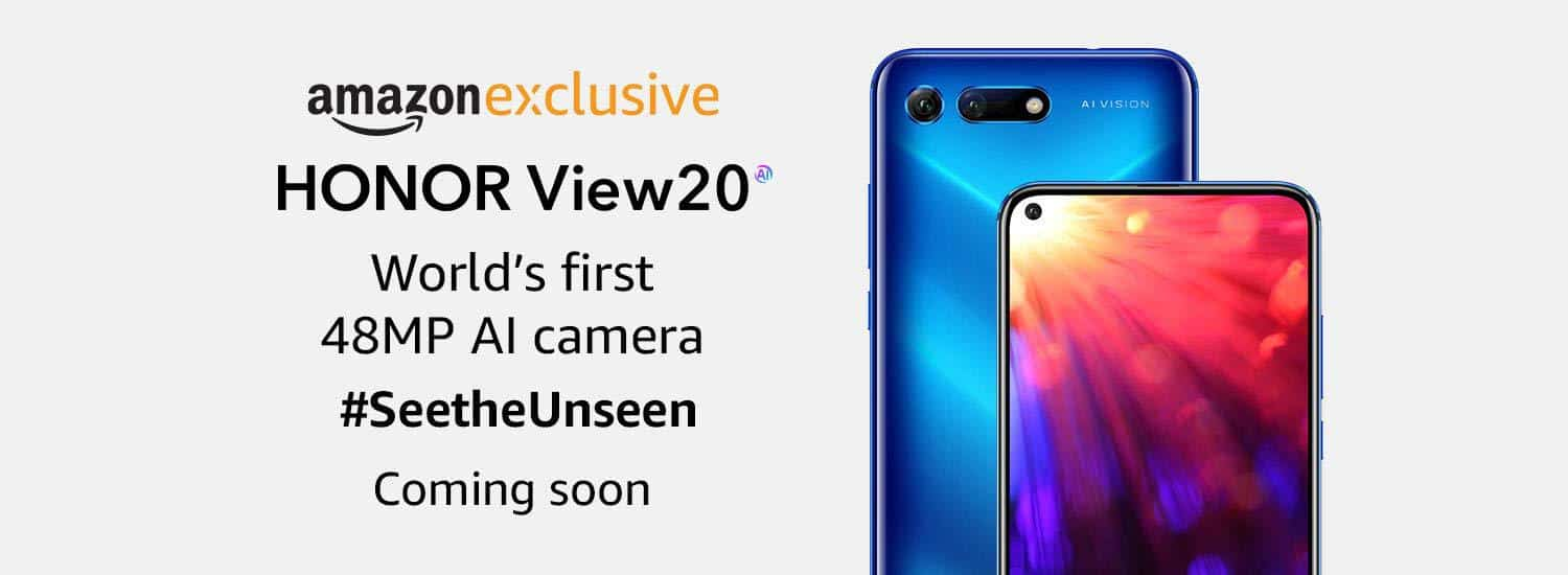 Honor view20 india launch teased by amazon india, established to be an amazon-exclusive smartphone
