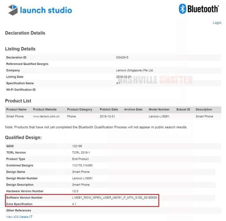 Lenovo a5s with mediatek helio a22 gets bluetooth ceritification