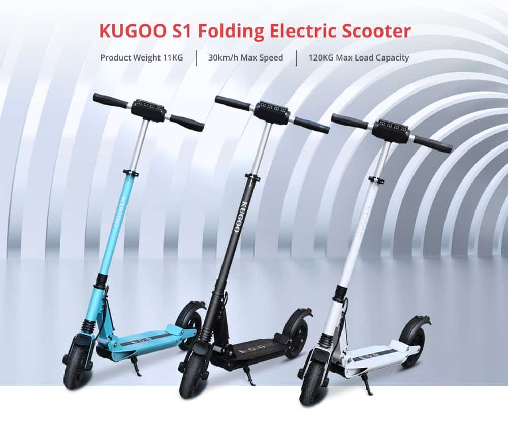 Kugoo s1 folding electric scooter 350w motor lcd display screen 3 speed modes 8.5 inches