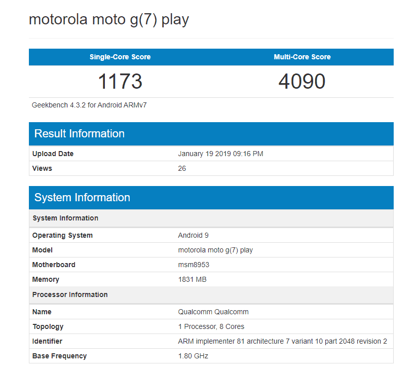 Geekbench reveals moto g7 play is powered by the sd 625