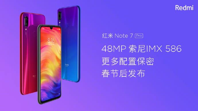 Redmi note 7 pro to release after spring festival with 48mp sony imx586 digital camera