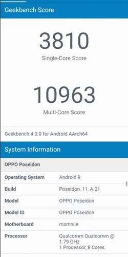 Oppo 'poseidon' looks on geekbench; options snapdragon 855 soc and android pie