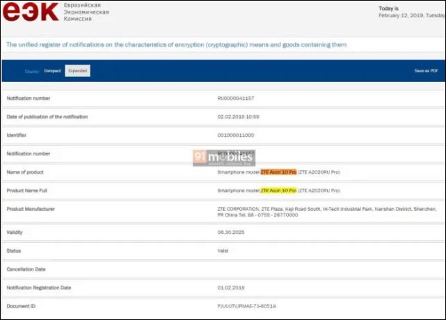 Zte axon 10 pro moniker established as it is certified by eec