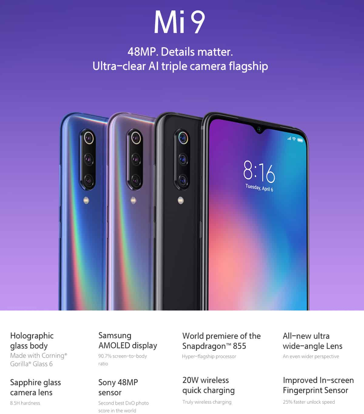 Xiaomi mi9 6gb 128gb snapdragon 855