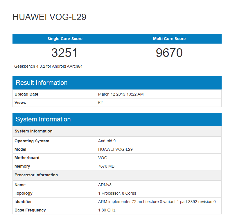Huawei p30 pro displays in geekbench with kirin 980 and 8gb ram
