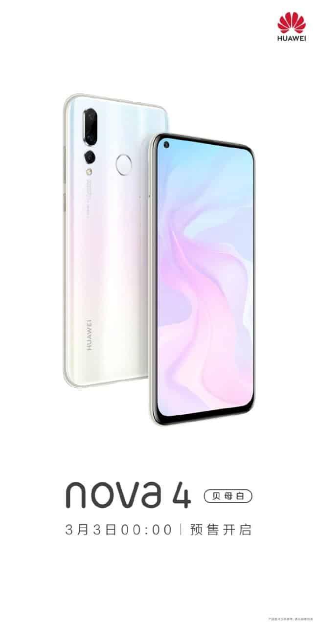 Huawei nova 4 pearl white pre-sale currently live in china