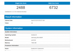 Samsung Galaxy A80 with Sd 675 proves on Geekbench