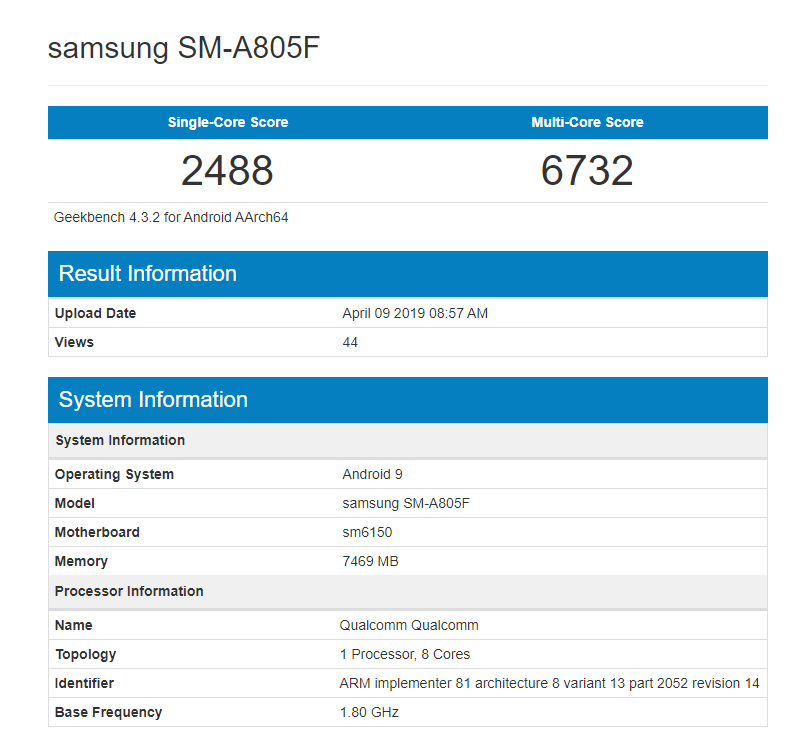 Samsung Galaxy A80 powered by Snapdragon 675 lands on Geekbench