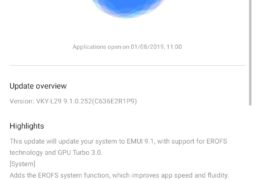 GPU Turbo 3.0 and EROFS file system released in EMUI 9.1 improved update brings to the Huawei P10 Plus