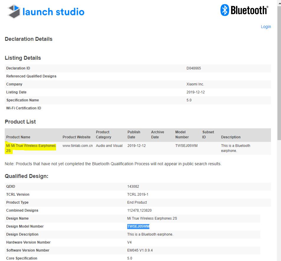 Xiaomi Mi True Wireless Earphones 2S gets Bluetooth certification